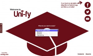 The current homepage of Uni-fy.ca, where users are able to select one of three branches of post-secondary study.