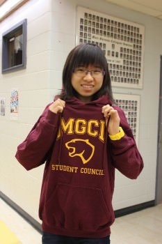 Arora Chen, our External Affairs Officer, displays last year's SAC sweater design. Photo: Jackie Ho