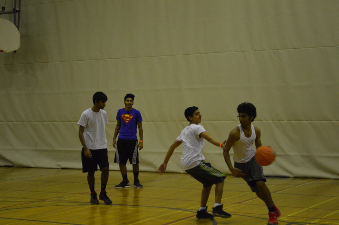 Student occupied the night with activities such as playing basketball. Photo: Abigail Chau