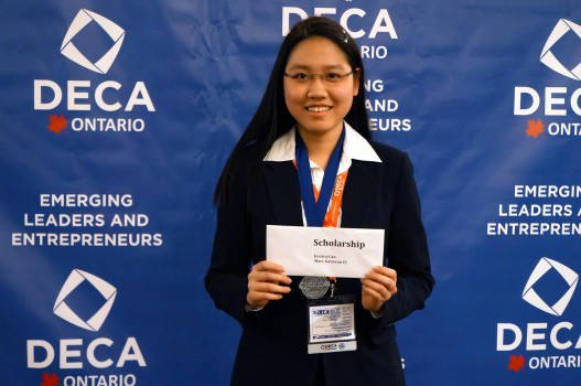 Jessica Cao, president of Marc Garneau CI's DECA chapter, won two medals and was awarded the DECA Ontario scholarship.