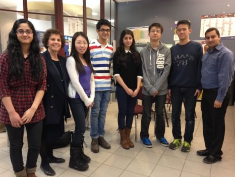 Student leaders and staff involved with the MGCI Cougar Initiative (left to right) : Nabeel Ashen (not present), Takhliq Amir, Ms. Goldenberg, Helen Feng, Zaid Irfani Baig, Barkhaa Talat, Gavin Xu, Eric Su, and Mr. Phambri.