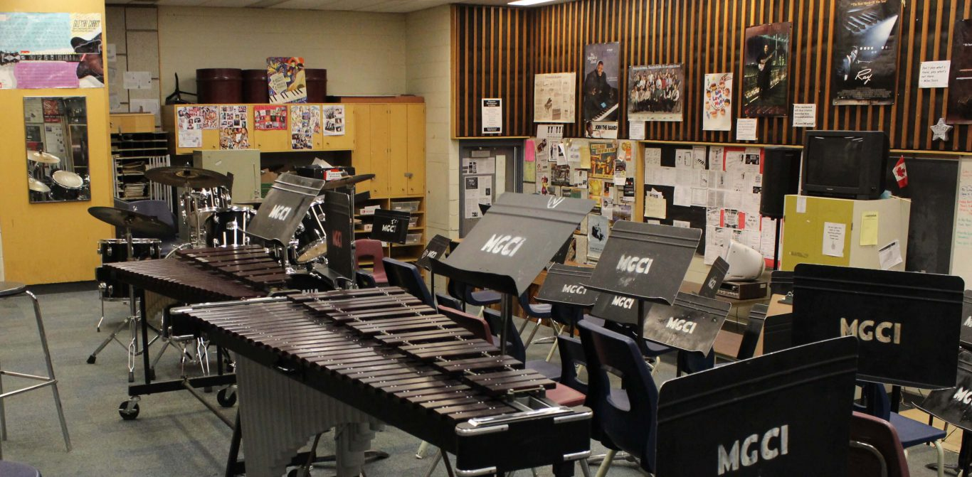 A new percussion course was offered by the music department for course selection in February. Photo: Noor Mah