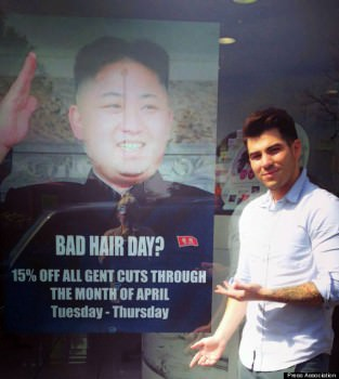 The poster that was displayed at a barbershop in Britain, eliciting a formal response from North Korea. (Image courtesy of Huffington Post)