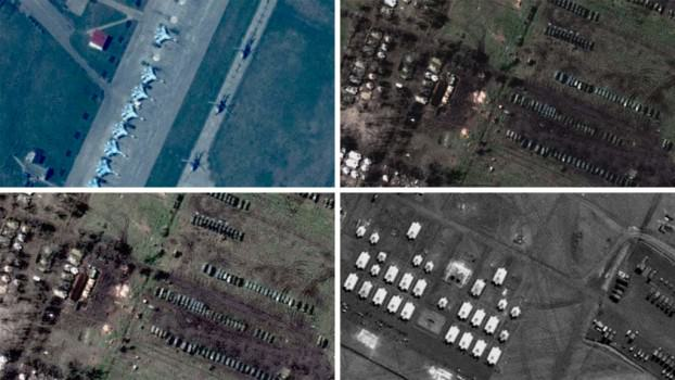 Satellite images showing Russian military hardware near the Ukrainian border. (Image courtesy of Channel 4)