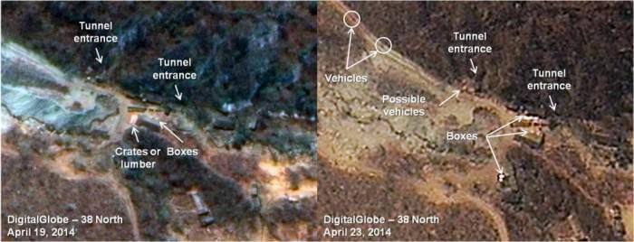 Satellite images showing possible transportation of nuclear devices into testing tunnels in North Korea. (Image courtesy of 38 North.)