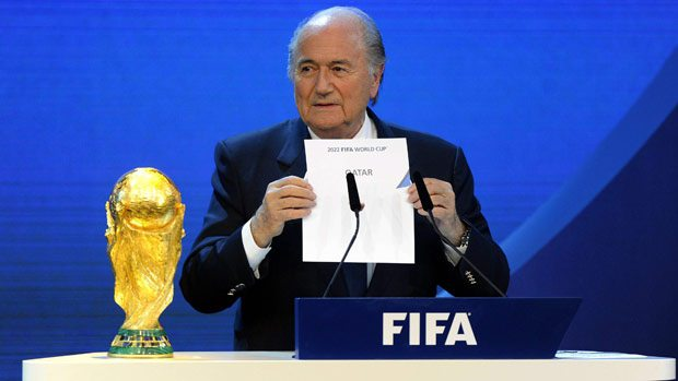 FIFA President Sepp Blatter's original announcement of Qatar 2020 back in 2010. (Image courtesy of CBC News)