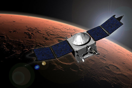 An artist concept of NASA's Maven orbiting the red planet. (Courtesy of NASA.)