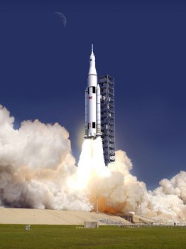 An artist's rendition of the Space Launch System. Image courtesy of Wikimedia.