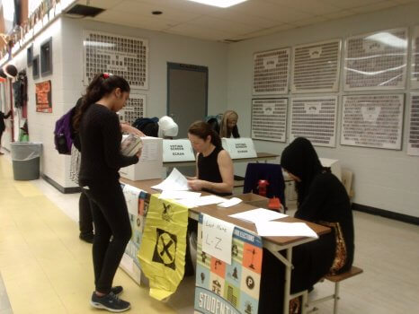 Many students took part in the mock elections, which took place in the cafeteria. Photo: Fahmida Tanzeer
