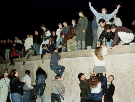 The fall of the Berlin Wall on 9 November, 1989 (Image courtesy of Herbert Knosowski/Reuters).