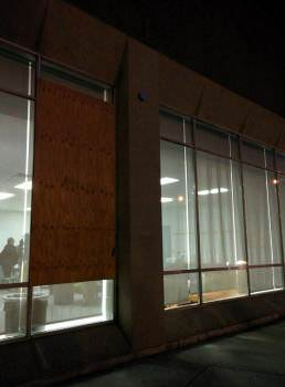 A staff room window was broken at around 4am during this year's Eliminate Night event. The broken window was quickly covered with plywood, and students were ushered out. The night's activities were otherwise unaffected. Photo: Kai Huang