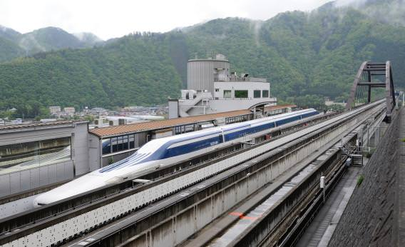 Japanese maglev train prepares to depart carrying its first 100 passengers.(Image courtesy of Toru Yamanaka/AFP/Getty Images)