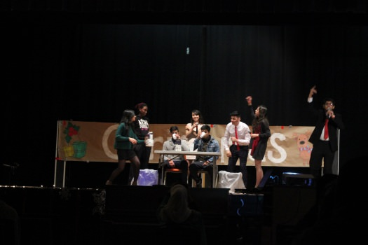 Students participated in an egg-nog chugging contest.