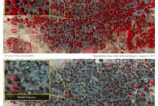 Satellite pictures that depict the destruction of Doron Baga, a town in Nigeria. (Image courtesy of Micah Farfour/ Digitalglobe.)