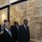 Iraqi Prime Minister Haider al-Abadi (second to the left) visits the Iraqi National Museum in Baghdad. The museum was attacked by ISIS militants earlier in the week. (Image courtesy to Reuters/Khalid Al-Mousily)