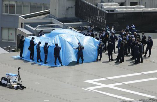Drone landing on rooftop of Japanese PM's office strikes fear in the public (Image courtesy of CATERS).
