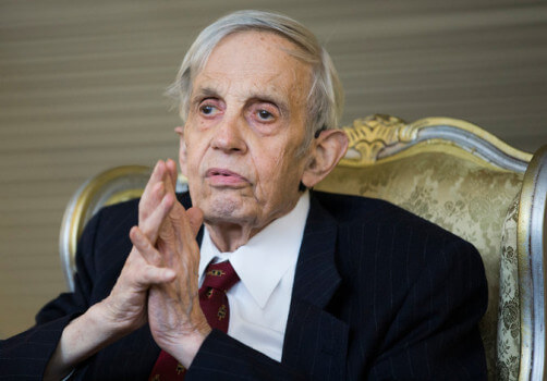 John Nash attended a ceremony last week in Oslo, Norway and was awarded the Able Prize. (Image courtesy of Berit Roald/ NTB SCANPIX.)