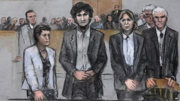 Tsarnaev was said to show no remorse when the sentence was declared (Image courtesy of AP).