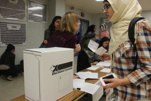 Students participated in a mock vote for the federal election. Photo: Kai Huang