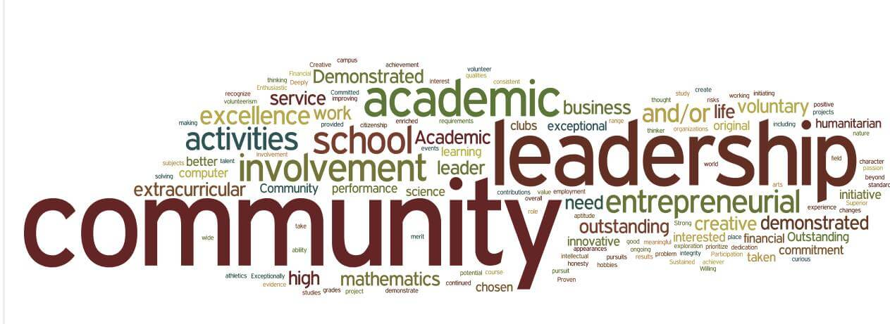 A word cloud of criteria keywords for Canada's scholarship offerings.