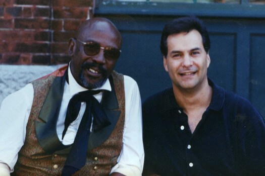 Mr. White with Louis Gossett Jr. on the set of Captive Heart: The James Mink story in 1995