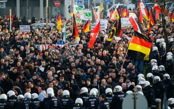 The series of sexual assaults on New Year's Eve sparked anti-immigration protests. (Image courtesy of Wolfgang Rattay/Reuters.)