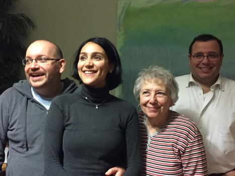 """In this January 18, 2016 handout photo provided by the Washington Post former Iranian prisoner Jason Rezaian(L) poses with his wife Yeganeh Salehi(2nd-L), mother Mary Rezaian and brother Ali Rezaian(R). Jason Rezaian, was freed January 16 after almost 18 months of incarceration in an Iranian prison. / AFP / The Washington Post / MARTIN BARON / == NO SALES / RESTRICTED TO EDITORIAL USE / MANDATORY CREDIT: """"AFP PHOTO / HANDOUT / MARTIN BARON / THE WASHINGTON POST """"/ NO MARKETING / NO ADVERTISING CAMPAIGNS / DISTRIBUTED AS A SERVICE TO CLIENTS == MARTIN BARON/AFP/Getty Images"""