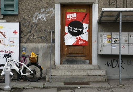 A poster encouraging voters to vote for the proposal in the referendum. (Image courtesy of Ruben Sprich/Reuters.)