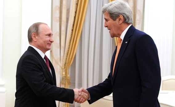U.S. Secretary of State, John Kerry, and Russian President, Vladimir Putin, shake hands. Source: The Brics Post