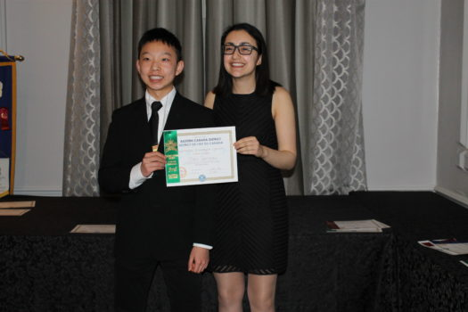 The Governor of Eastern Canada, Mona Adib, poses with current MGCI Key Club President Yong Da Li. Photo courtesy of Sophia Song.