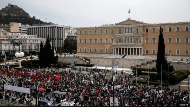 Greek union workers protest pension cuts. (Photo Courtesy of Mishtalks)