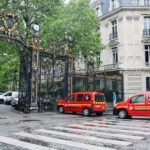 Firefighters outside Parc Monceau after eleven people get struck by lightening. (Image courtesy of AFP/Getty)