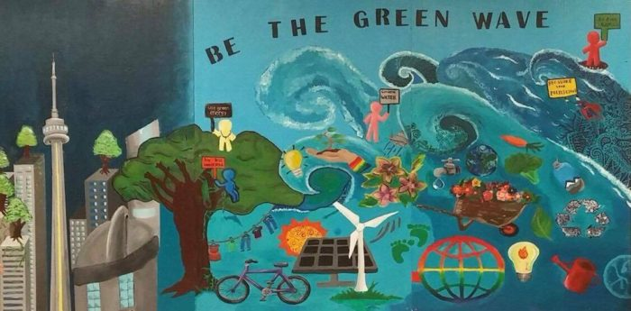 Marc Garneau's new Eco-Mural, created by the Eco Team and Art Council. Photo: Parnika Godkhindi