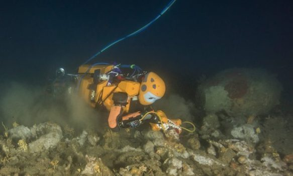 The OceanOne robot recovers a vase from a wrecked French flagship. (Image courtesy of Teddy Seguin/Osada/Seguin/DRASSM)