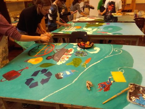 Art Council and EcoTeam working on the mural during March Break. Photo courtesy of Julie Xiao.