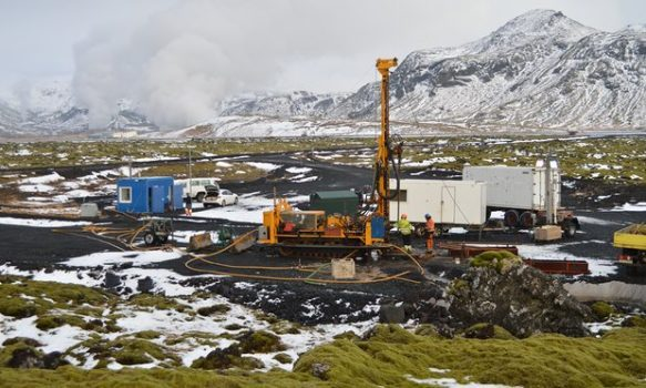A site close to a geothermal plant, where CO2 mineralised after being injected into rock almost two years ago. (Photo courtesy of The Guardian)
