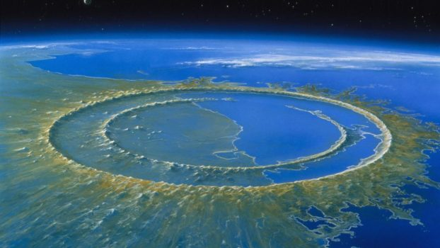 Artist's reconstruction of Chicxulub crater soon after impact, 66 million years ago.